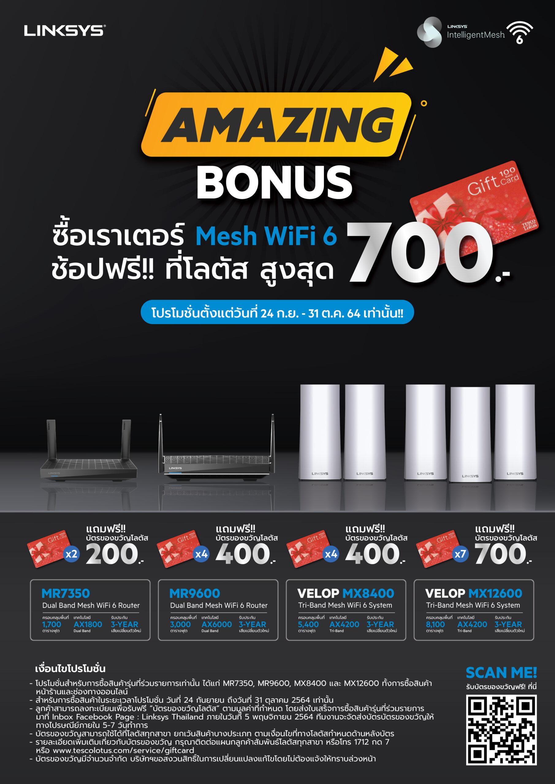 Amazing Bonus - ซื้อเราเตอร์ Mesh WiFi 6 ช้อปฟรี!!! ที่โลตัส สูงสุด 700 บาท